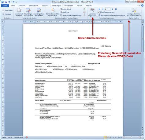 Muster Nebenkostenabrechnung Word abrechnungs 252 bergabe an word seriendruck domus software ag