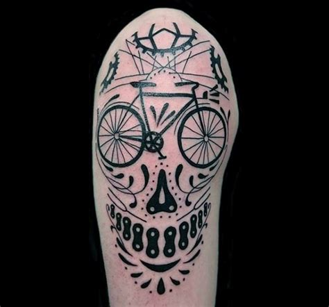 ink zone tattoo black ink bicycle themed tattoo on shoulder zone