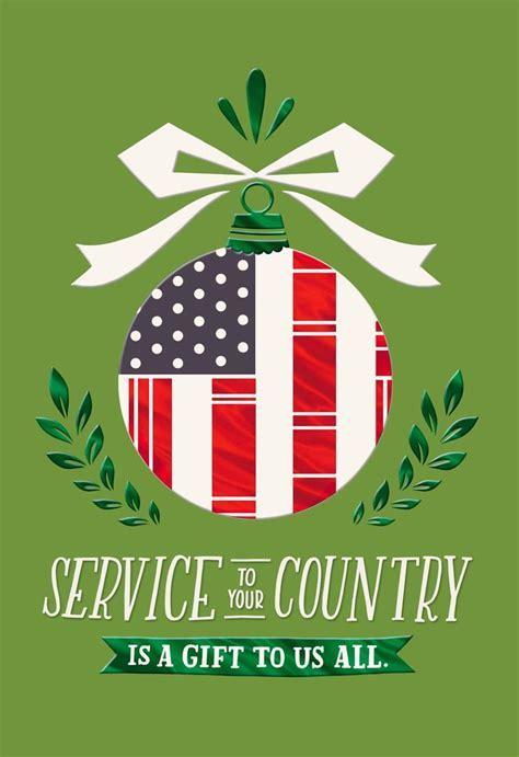 Patriotic Ornament Christmas Card for Veteran   Greeting