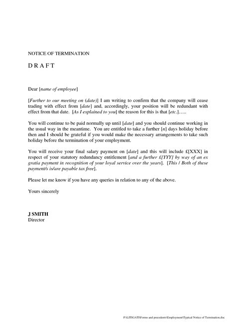 termination letter draft format termination letter draft format 28 images 15