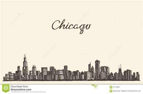 chicago skyline city engraving vector illustration stock