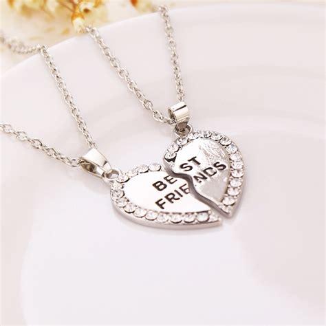 silver friends bff best friends friendship pendant