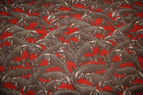 Fishing Quilt Fabric by Koi Fish Carp Fishing Zen Japan Cotton Fabric Quilt