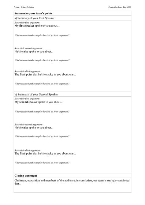 debate notes template debate preparation templates