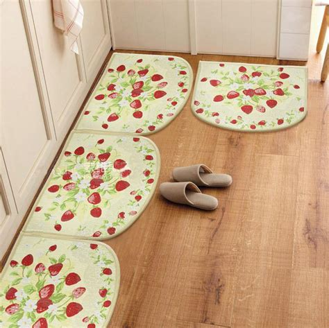 strawberry kitchen rugs kitchen semi cirle rugs slip resistant carpet strawberry doormat pad bedroom mat 3 pcs lot free