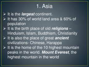 Information About World Interesting Facts About Continents In The World