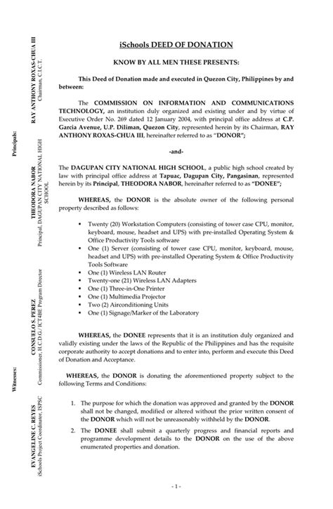 boat donation form deed of donation in word and pdf formats