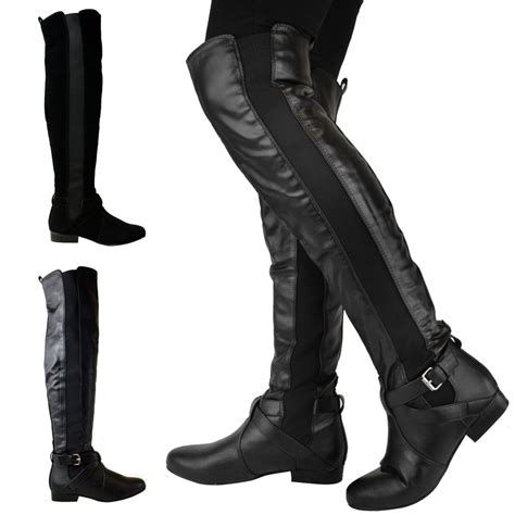 thigh high boots flat heel womens flat low heel stretch wide leg the knee