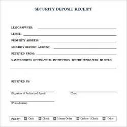 Receipt Of Deposit Template Security Deposit Receipt Form