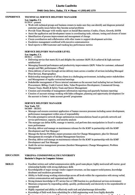 Service Delivery Manager Resume Sles Velvet Jobs Service Delivery Manager Resume Template