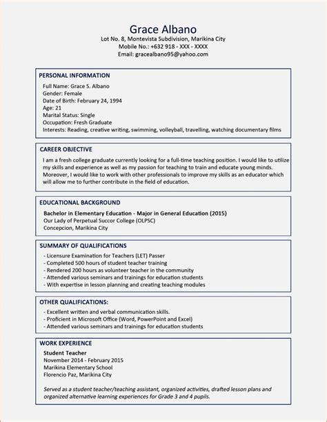 Curriculum Coach Sle Resume by 6 Resume Sle Fresh Graduate 28 Images Sle Cover Letter For A Curriculum Vitae 28 Images Sle