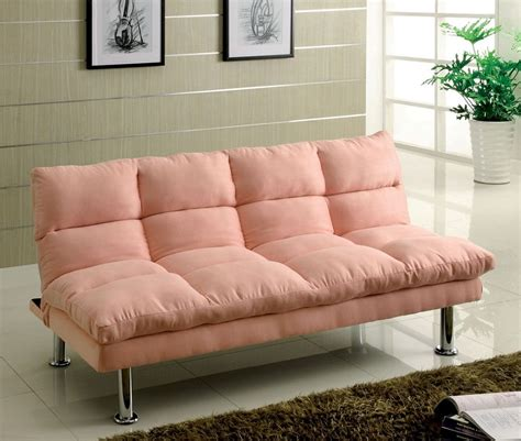 microfiber pink finish futon sofa bed