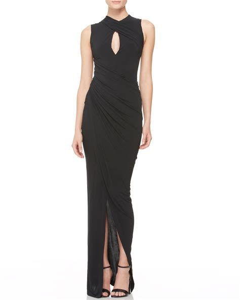 draped evening dress lyst donna karan draped keyhole evening dress in black