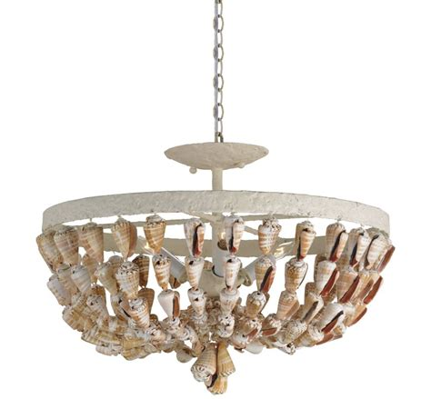 Currey And Company Light Fixtures Currey And Company 9898 White Coral Waterside 3 Light Convertible Shell Pendant