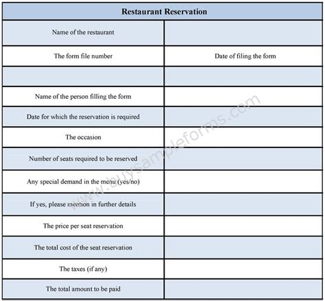 restaurant reservation form sle forms