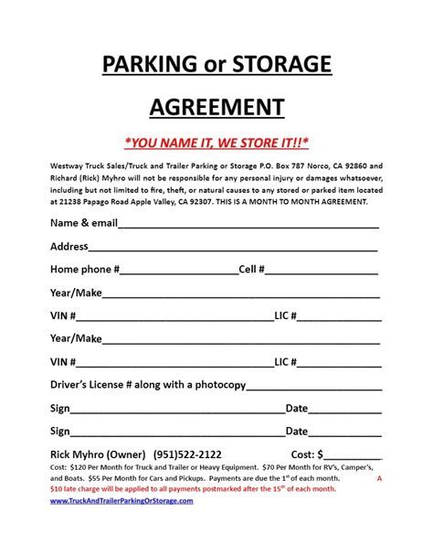 Parking Space Rental Agreement Template Sle Parking Agreement Template 11 Free Documents In Storage Space Lease Agreement Template