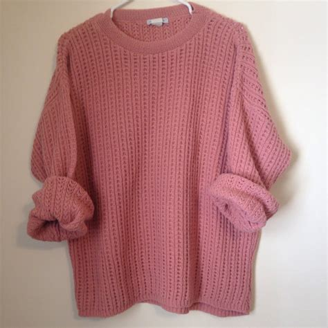 Sweater Cable Dusty Pink Maroon Orange Vintage Dusty Colored Sweater