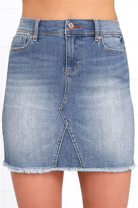 dittos maggie distressed denim skirt denim mini skirt