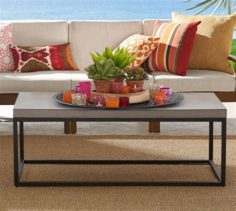 concrete and metal coffee table sloan concrete metal coffee table pottery barn