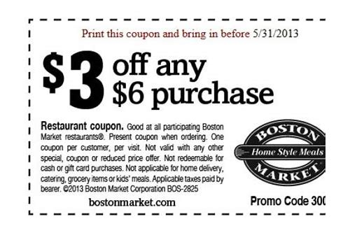 boston market discount coupons