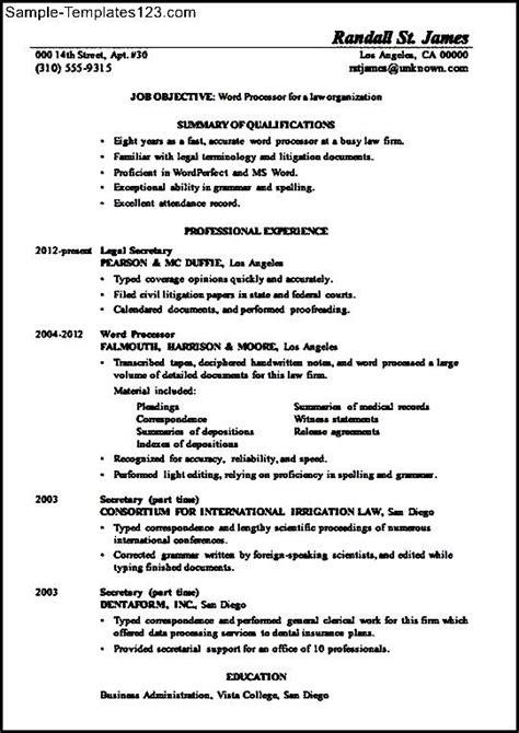 resume sle word processor law sle templates