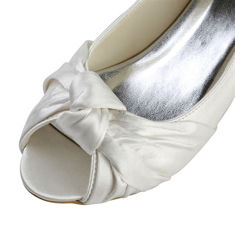 Silver Bowknot Flat Sandal Shoes Import s satin kitten heel peep toe sandals wedding shoes