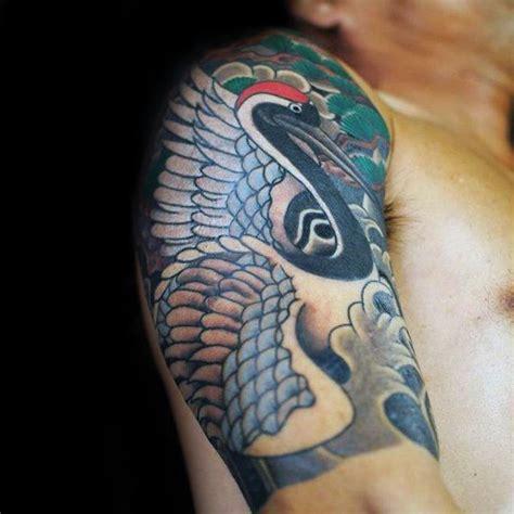 quarter sleeve japanese tattoo 40 japanese crane tattoo designs for men bird ink ideas