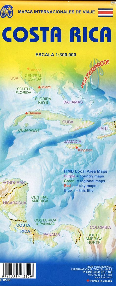 waterproof travel map of costa rica books costa rica travel reference map