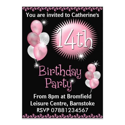 printable birthday invitations for 14 year olds 14th birthday party invitation 5 quot x 7 quot invitation card