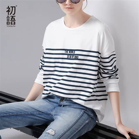Striped Neck Casual Top toyouth t shirt 2017 stripe letter embroidery casual batwing sleeve o neck tees