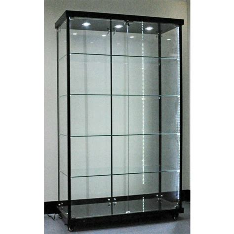 titanium alloy glass display cabinet led strip light glass