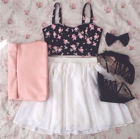 cute floral skirt outfits for teens