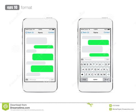 text message template iphone smart phone chatting sms template bubbles stock vector