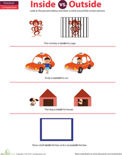 In And Out Worksheets For Preschoolers by Preschool Math Inside And Outside Worksheet Education