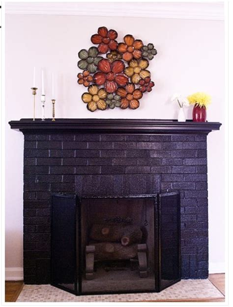 Black Painted Brick Fireplace by Eclectic Living Room