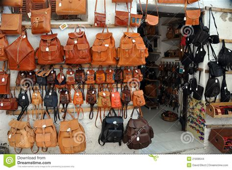 Handmade Products Store - leather bag shop stock photo image of mediterranean