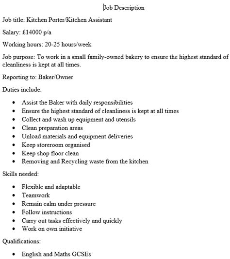 Kitchen Porter Job Description Uk by Business Plan Bakery Example