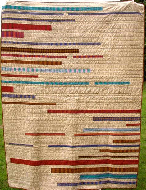 Striped Quilt by Modern Quilt Woven Stripes Neutral Stripes