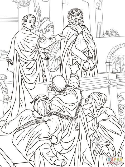 coloring pages jesus before pilate coloriage ponce pilate s adresse 224 la foule coloriages