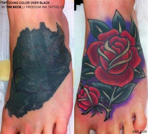 Tattoo Cover Up Red Over Black | tattoo cover up on solid black impressive rose