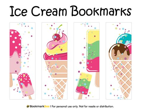 printable bookmarks design free printable ice cream bookmarks download the pdf