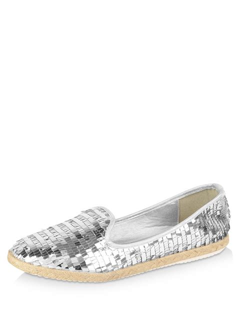 sequin flat shoes buy intoto sequined flat shoes for s silver