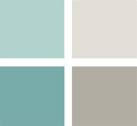 soft blue green tones and warm grays clockwise from top left all from glidden tropical