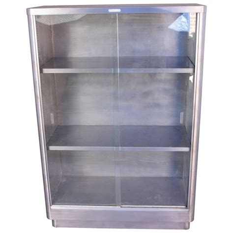 Metal Bookshelf Industrial Glass Front Metal Bookcase At 1stdibs