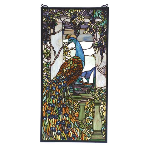 meyda 70519 peacock window panel stained glass