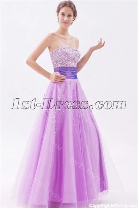 Sweetheart Long Lilac Beaded 15 Quinceanera Dresses:1st dress.com