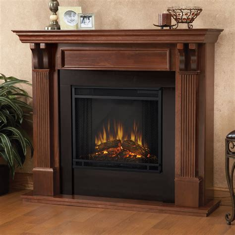 real indoor electric fireplace in mahogany