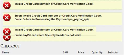 Credit Card Format Error paypal pro checkout with credit card not working