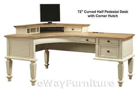 Antique White Corner Desk Charleston Antique White 72 Quot Curve Half Pedestal L Desk With Corner Hutch