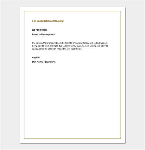 cancellation letter for booking apology letter for cancellation sles exles formats